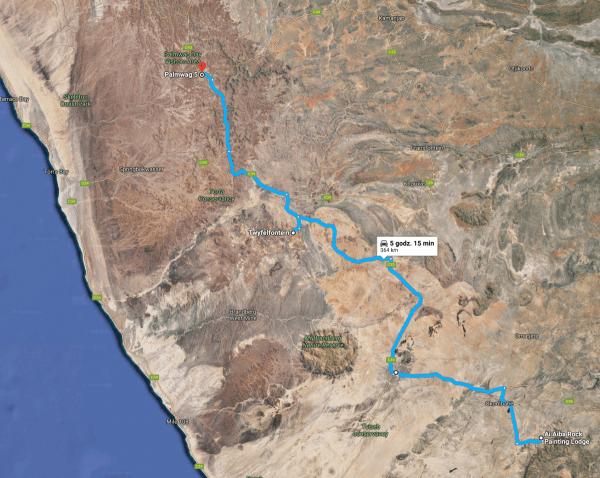 trasa Ai Aiba Painting Lodge -> Uis -> Twyfelfontein -> Palmwag Camp